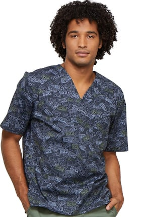 Fashion Prints by Cherokee Men's V-Neck Sports Print Scrub Top