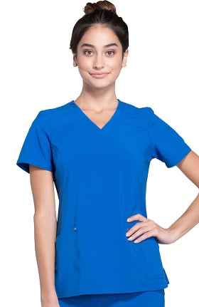 iflex™ by Cherokee Women's Mock Wrap Soft Side Panel Solid Scrub Top