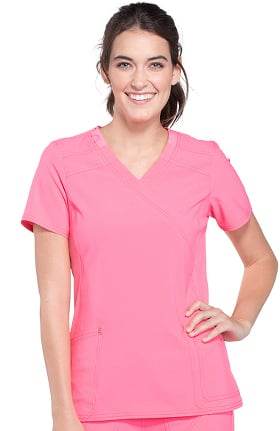 Clearance iflex™ by Cherokee Women's Mock Wrap Soft Side Panel Solid Scrub Top
