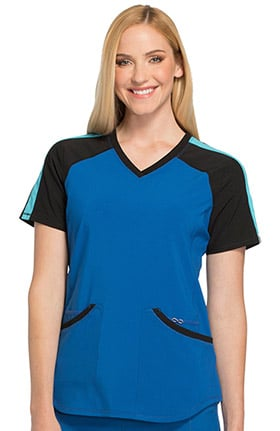 Infinity by Cherokee Women's V-Neck Knit Back Solid Scrub Top