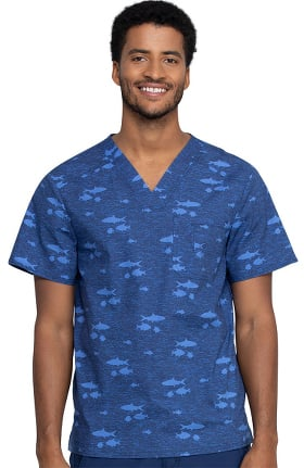 Fashion Prints by Cherokee Men's Stay In School Print Scrub Top