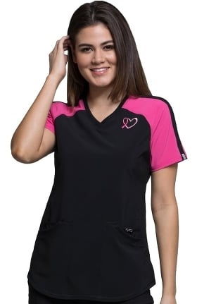 Clearance Infinity by Cherokee Women's V-Neck Colorblock Solid Scrub Top