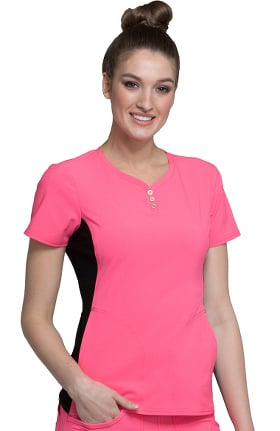 iflex™ by Cherokee Women's V-Neck 3-Button Henley Solid Scrub Top