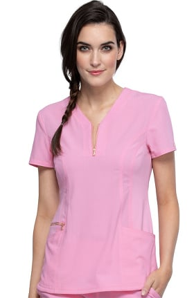 STATEMENT by Cherokee Women's Zip Up Notched Neckline Solid Scrub Top