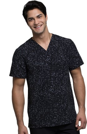 Clearance Infinity by Cherokee Men's V-Neck Abstract Print Scrub Top