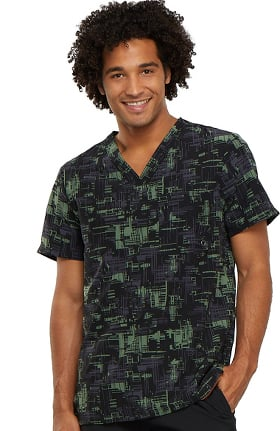 Infinity by Cherokee Men's V-Neck Abstract Print Scrub Top