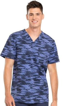 Fashion Prints by Cherokee Men's V-Neck Abstract Print Scrub Top