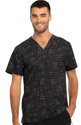 Infinity by Cherokee Men's V-Neck Glowing Grid Print Scrub Top