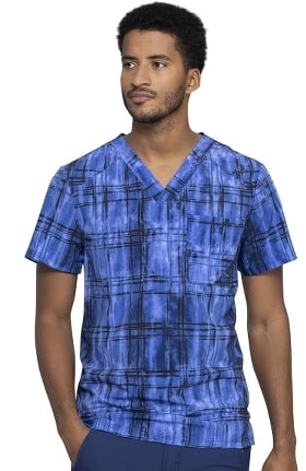 Infinity by Cherokee Men's Plaid Tie Dye Print Scrub Top