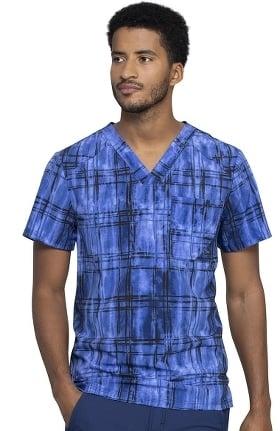 Infinity by Cherokee Men's Plaid Tie Dye Print Scrub Top