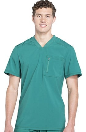 Infinity by Cherokee Men's V-Neck Knit Panel Solid Scrub Top