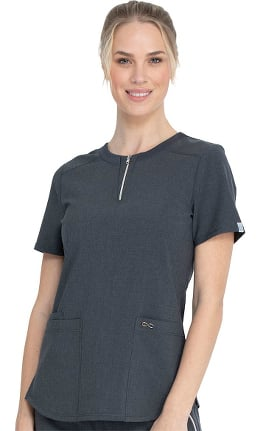 Infinity by Cherokee Women's Zip Front Solid Scrub Top