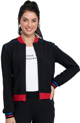 iflex featuring Katie Duke by Cherokee Women's Bomber Solid Scrub Jacket