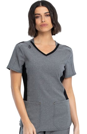 iflex featuring Katie Duke by Cherokee Women's Stylized Solid Scrub Top