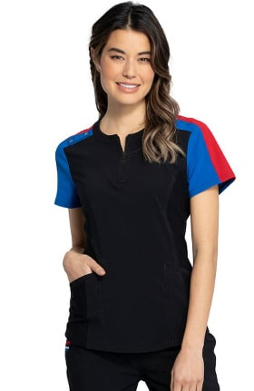 iflex featuring Katie Duke by Cherokee Women's Zip Neck Solid Scrub Top
