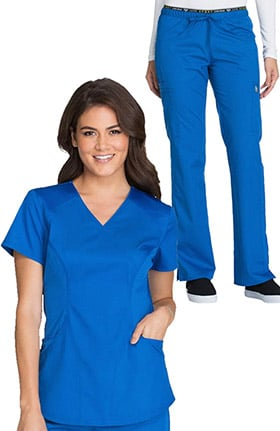 Luxe by Cherokee Women's Mock Wrap Solid Scrub Top & Logo Elastic Waistband Scrub Pan