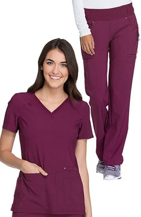 iflex by Cherokee Women's V-Neck Knit Back Solid Scrub Top & Knit Waistband Pull On Scrub P