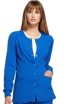 ELLE Women's Snap Front Warm-Up Solid Scrub Jacket