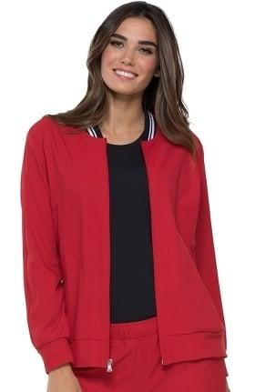 ELLE Women's Zip Front Solid Bomber Scrub Jacket