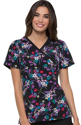 Clearance ELLE Women's Mock Wrap Floral Print Scrub Top