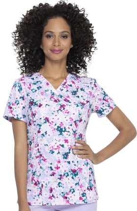 ELLE Women's Cherry Blossom Floral Print Scrub Top
