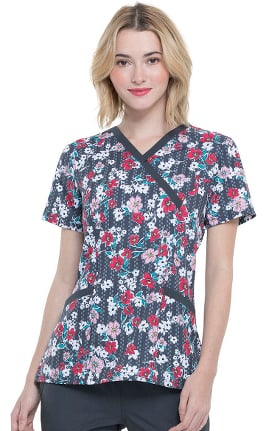 Clearance ELLE Women's Mock Wrap Fast Track Floral Print Scrub Top