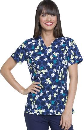 Clearance ELLE Women's Mock Wrap Floral Print Scrub Top