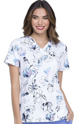 ELLE Women's Mock Wrap Floral Print Scrub Top