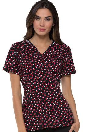 Clearance ELLE Women's V-Neck Dot Print Scrub Top