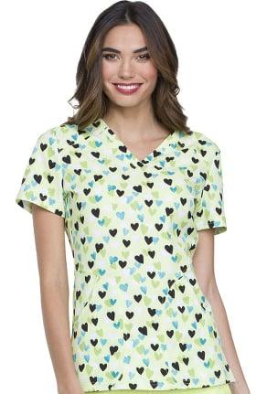 ELLE Women's V-Neck Heart Print Scrub Top