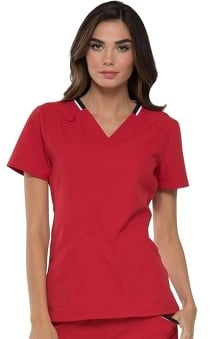 ELLE Women's V-Neck Solid Scrub Top