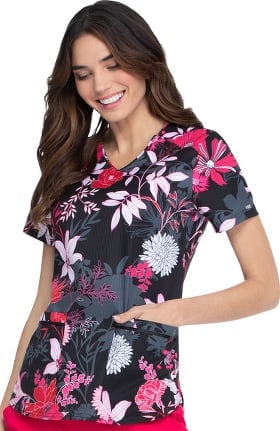 ELLE Women's All A Bloom Print Scrub Top