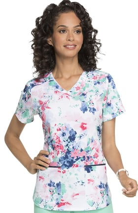 Clearance ELLE Women's V-Neck Floral Print Scrub Top