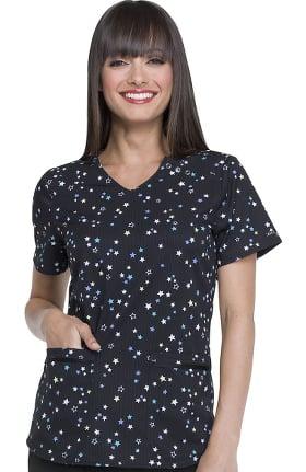Clearance ELLE Women's V-Neck Star Print Scrub Top