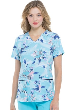 ELLE Women's V-Neck Wash The Blooms Away Print Scrub Top