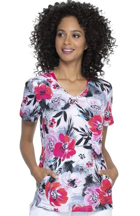 ELLE Women's Shaped Big Bloom Print Scrub Top