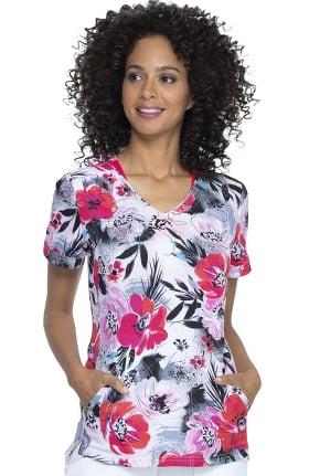Clearance ELLE Women's Shaped Big Bloom Print Scrub Top