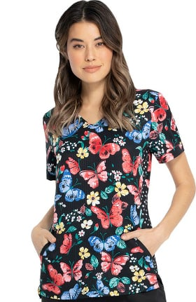 Clearance ELLE Women's V-Neck Lets Just Wing It Print Scrub Top