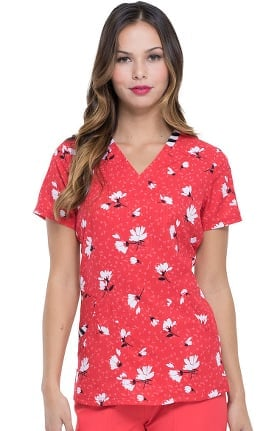 Clearance ELLE Women's V-Neck Dance With Me Daisy Print Scrub Top