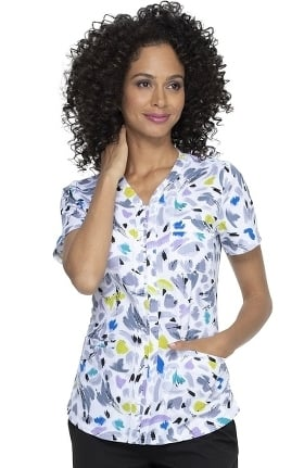 ELLE Women's Shaped A Brush Of Color Print Scrub Top