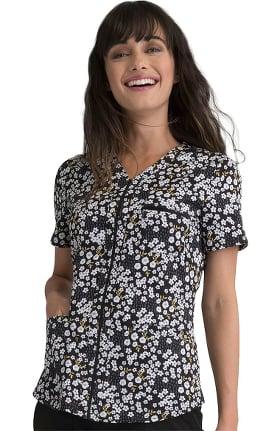 ELLE Women's Femme Fleurs Print Scrub Top