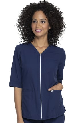 ELLE Women's Simply Polished Solid Scrub Top