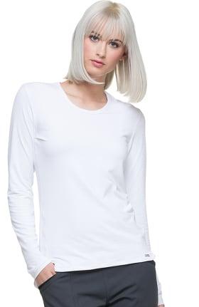 ELLE Women's Long Sleeve Knit Solid Underscrub T-Shirt