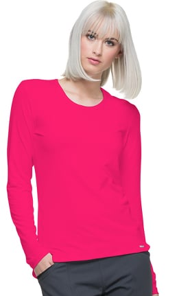 Clearance ELLE Women's Long Sleeve Knit Solid Underscrub T-Shirt