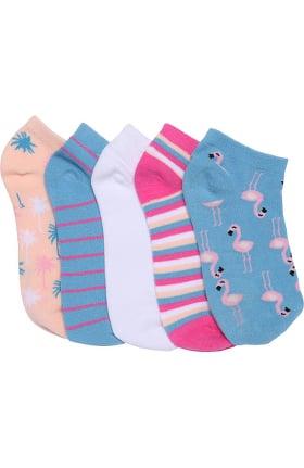 Footwear by Cherokee Women's 5 Pack Flamingo Fun Print Crew Socks