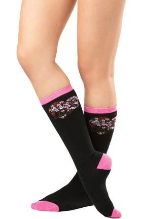 1Pr Pink Ribbon Knee High Sock