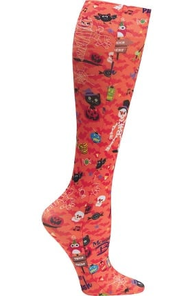 Footwear by Cherokee Women's Fashion 8-15 mmHg Party Monster Print Compression Sock