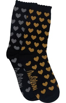 heartsoul Women's 2 Pack Metallic Holiday Crew Socks