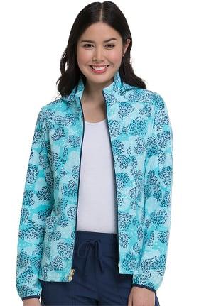 heartsoul Women's Warm-Up Heart Print Scrub Jacket