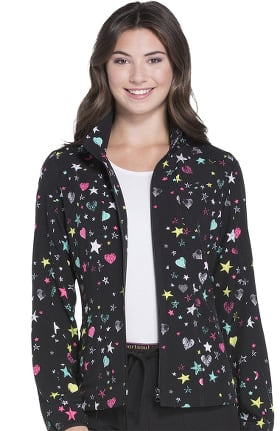 heartsoul Women's Zip Front Warm-Up Star Print Scrub Jacket